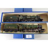 """Unmarked Hagley Hall locomotive No 4930, together with a Hornby """"Cadbury Castle"""" locomotive No 7028,"""