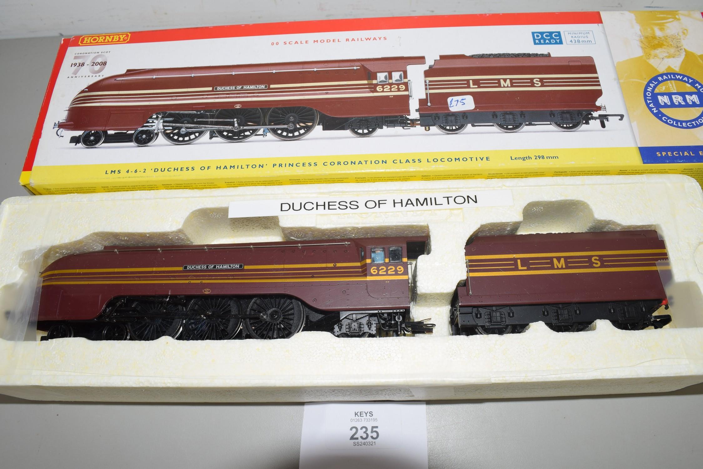"Boxed Hornby 00 gauge R2689 LMS 4-6-2 Coronation class ""Duchess of Hamilton"" locomotive No 6229"