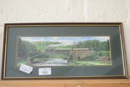 Group of four small framed railway prints