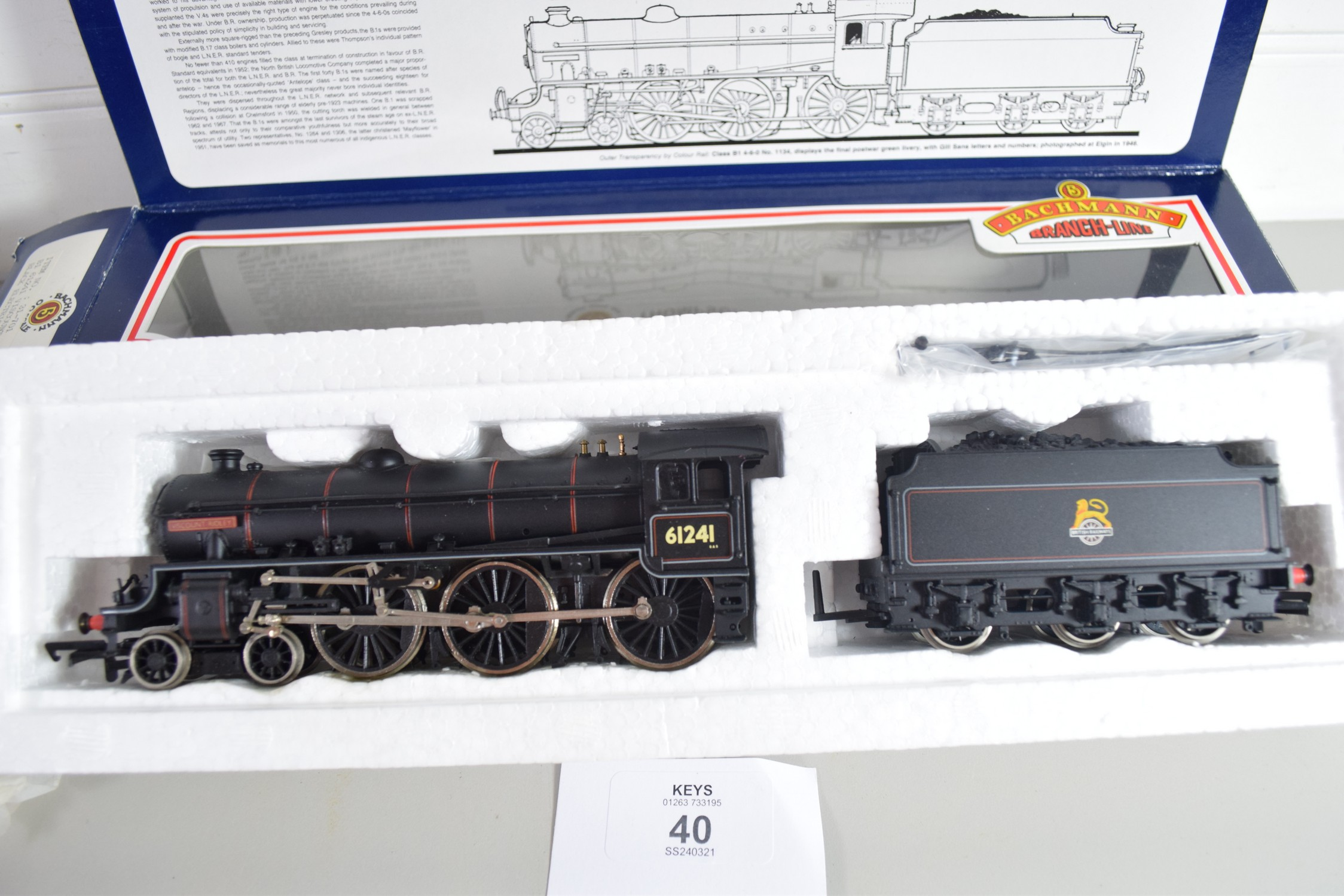 """Boxed Bachmann 00 gauge 31-701 B1 """"Viscount Ridley"""" BR black, electric generator No 61241 - Image 3 of 3"""