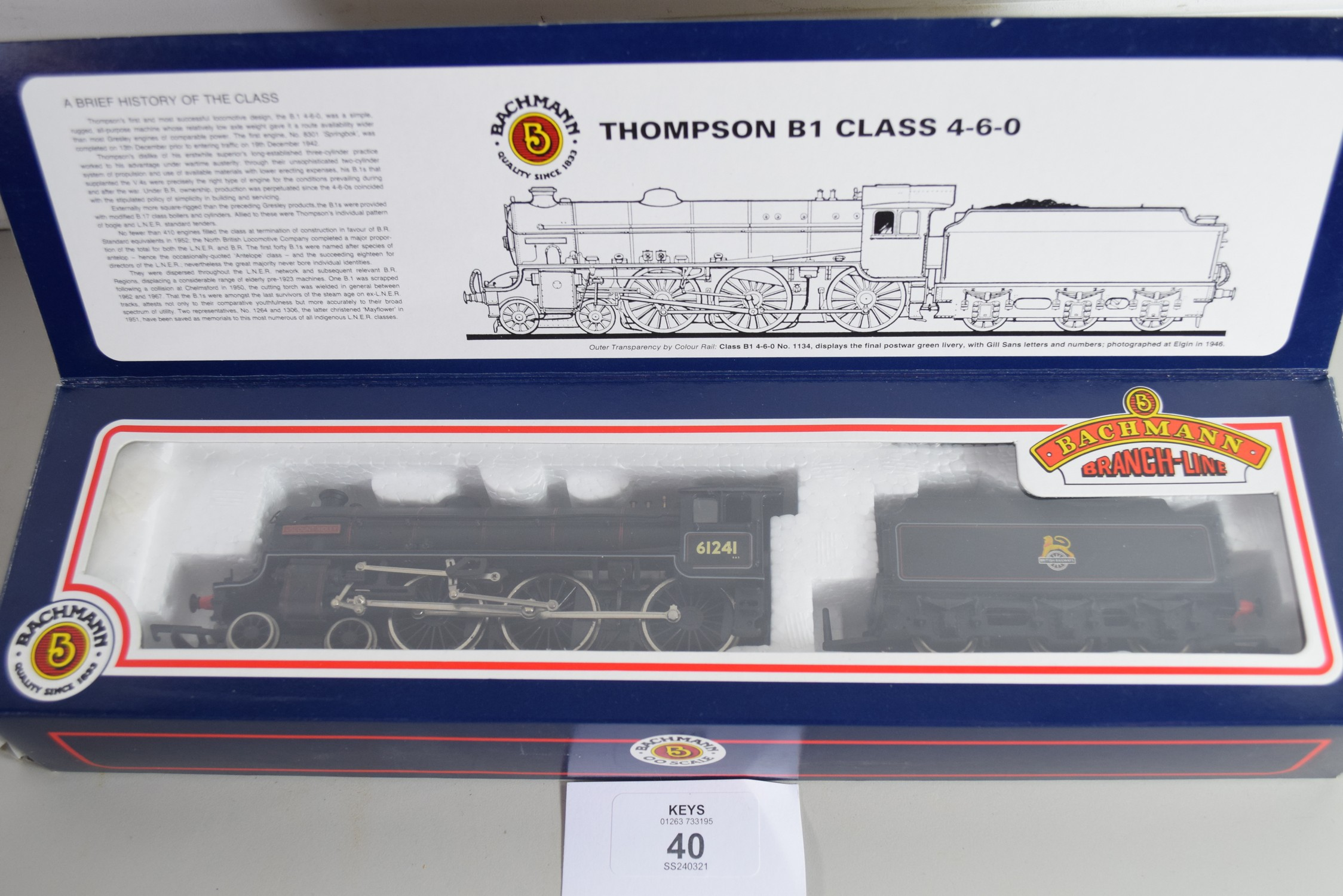 """Boxed Bachmann 00 gauge 31-701 B1 """"Viscount Ridley"""" BR black, electric generator No 61241 - Image 2 of 3"""
