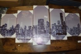 SET OF MODERN CITYSCAPE CANVASES