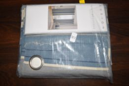 """ASHLEI 100% COTTON LINED ISLET CURTAINS, BLUE, 66"""" WIDE X 54"""" DROP"""
