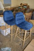 PAIR OF MODERN UPHOLSTERED BAR STOOLS, HEIGHT APPROX 110CM