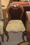 VICTORIAN UPHOLSTERED BALLOON BACK CHAIR