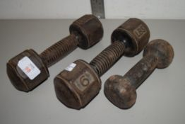 PAIR OF VINTAGE 6LB WEIGHTS AND A FURTHER WEIGHT