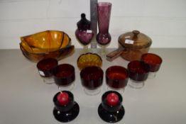 GLASS WARES, SAUCEPAN AND COVER, GLASS FRUIT BOWL ETC