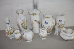 PORCELAIN ITEMS, MAINLY AYNSLEY COTTAGE GARDEN DESIGNS, VASES, SMALL BOX AND COVER