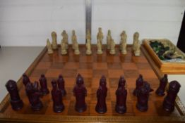 LARGE WOODEN CHESS BOARD WITH ISLE OF MAN STYLE CHESS PIECES