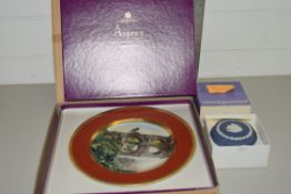 LIMITED EDITION LIMOGES PLATE IN ASPREY BOX PRODUCED FOR REED MEDWAY SAXE LTD AND A WEDGWOOD TRINKET
