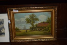 """SMALL OIL ON BOARD INITIALLED """"A"""", LANDSCAPE WITH COTTAGE, FRAME WIDTH APPROX 37CM"""