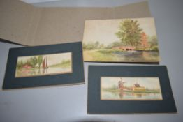 THREE SMALL WATERCOLOURS, BROADS SCENES, ON CARD, SIGNED BY S C MORTER