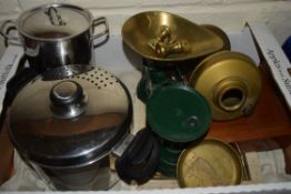 BOX CONTAINING KITCHEN WARES, SCALES ETC