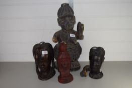 COLLECTION OF FOUR TRIBAL ART HEADS, PROBABLY WEST AFRICAN