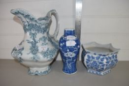 CHINESE PORCELAIN VASE DECORATED WITH PRUNUS ON BLUE GROUND, TOGETHER WITH A LARGE POTTERY JUG AND
