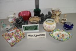 TRAY CONTAINING CERAMIC ITEMS, SMALL BOX AND COVER, JAMES CANT'S CUP AND SAUCER ETC