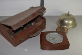 BOX CONTAINING VINTAGE SUITCASE, SMALL BAROMETER IN WOODEN CASE ETC