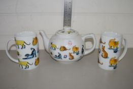 QTY OF CAT POTTERY BY PAUL CARDEW COMPRISING TEA POT AND TWO MUGS