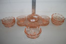 GLASS DRESSING TABLE SET, TRAY, VARIOUS SMALL BOWLS