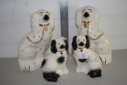 FOUR STAFFORDSHIRE DOGS, PAIR OF LARGE AND PAIR OF SMALL