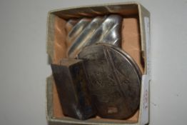 SMALL BOX CONTAINING A VESTA AND SMALL SILVER METAL TRAY AND CLIP