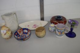 TRAY CONTAINING CERAMICS INCLUDING SMALL POOLE JUG, SMALL POOLE VASE AND COVER