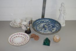 TRAY CONTAINING CERAMICS, CUPS, SAUCERS, SIDE PLATES, ORIENTAL BLUE AND WHITE DISH ETC
