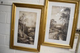 """TWO FRAMED PRINTS AFTER DOUGLAS GRAHAM """"DEPARTING SUMMER"""" AND """"SILVER BIRCHES"""", EACH FRAME WIDTH"""
