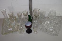 QTY OF CUT GLASS WARES, GLASSES, TRAYS ETC