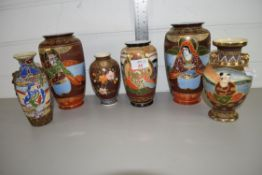 SIX ORIENTAL VASES, WITH JAPANESE STYLE DESIGNS