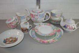 PART TEA SET BY ROYAL ALBERT IN THE FONTEYN PATTERN COMPRISING CUPS, SAUCERS, TEA POT ETC