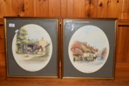 PAIR OF FRAMED PRINTS AFTER DOUGLAS WEST, THE THATCHER AND THE BLACKSMITH, EACH FRAME WIDTH APPROX