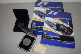 BOX CONTAINING SILVERSTONE EPHEMERA AND BRITISH GRAND PRIX CATALOGUE FOR JULY 1995 AND OFFICIAL