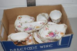 BOX CONTAINING QTY OF ROYAL CROWN DERBY CHINA, MAINLY IN THE POSIES PATTERN