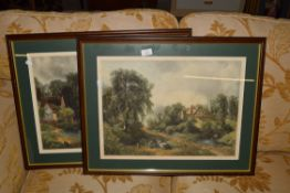 PAIR OF FRAMED PRINTS, SIGNED IN PENCIL TO MARGIN, EACH FRAME WIDTH APPROX 67CM