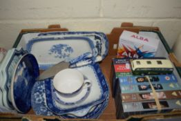 BOX CONTAINING BLUE AND WHITE CERAMIC WARES, DELFT PLAQUES ETC AND SOME VIDEOS
