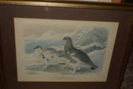 QTY OF PICTURES, PRINTS OF GROUSE, PICTURE OF A HOUSE AND A WATERCOLOUR OF A LAKE SCENE SIGNED