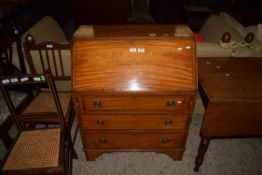 DROP FRONT BUREAU WITH CROSS BANDED AND STRUNG DECORATION AND FITTED INTERIOR, WIDTH APPROX 76CM