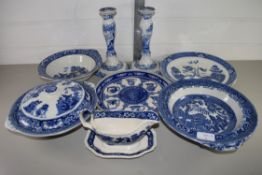 PAIR OF SPODE ITALIAN PATTERN CANDLESTICKS AND OTHER BLUE AND WHITE WARES