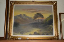 WATERCOLOUR ON BOARD OF A MOUNTAIN SCENE SIGNED R H J LOWER LEFT, DATE 1927