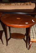 INLAID OVAL OCCASIONAL TABLE WITH INSET DECORATION, APPROX 70 X 43CM