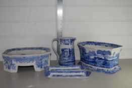 QTY OF BLUE AND WHITE WARES, SOME IN SPODE ITALIAN PATTERN