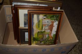 BOX CONTAINING QTY OF PICTURES, GROUP OF OWLS, WATERCOLOUR OF THE FAIRSTEAD CLEY ETC