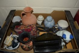 BOX CONTAINING MODEL OF A CAT, GRECIAN STYLE VASE ETC