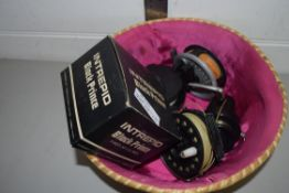 BOX CONTAINING FISHING REELS INCLUDING INTREPID BLACK PRINCE