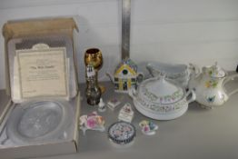 TRAY CONTAINING CERAMICS AND GLASS, TUREEN AND COVER, COFFEE POT ETC