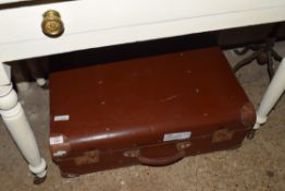 LARGE VINTAGE LEATHER SUITCASE, LENGTH APPROX 65CM, TOGETHER WITH TWO OTHERS