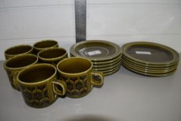 PART TEA SET BY HORNSEA COMPRISING SIX CUPS, SAUCERS AND SIDE PLATES