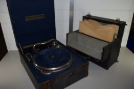 VINTAGE GRAMOPHONE AND BOXED GRAMOPHONE