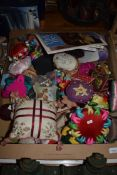 TRAY CONTAINING QTY OF NEEDLEWORK ITEMS, SMALL CUSHIONS ETC